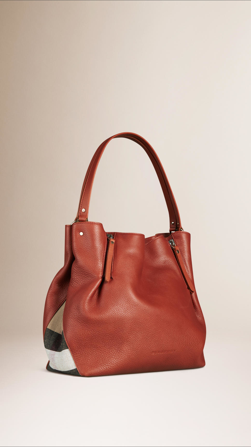 Burberry Medium Check Detail Leather Tote Bag in Brown ...
