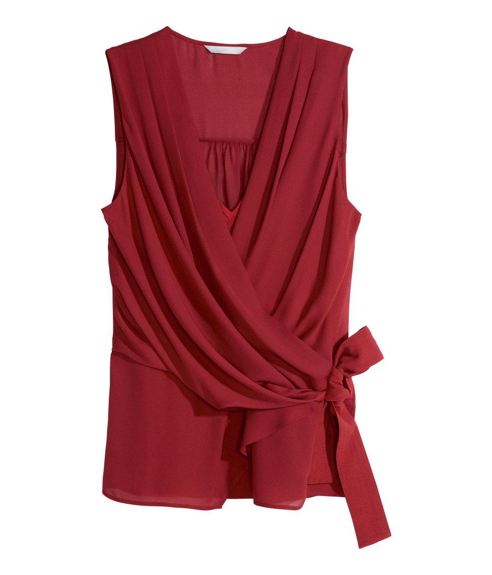 Women'S Red Chiffon Blouse 78