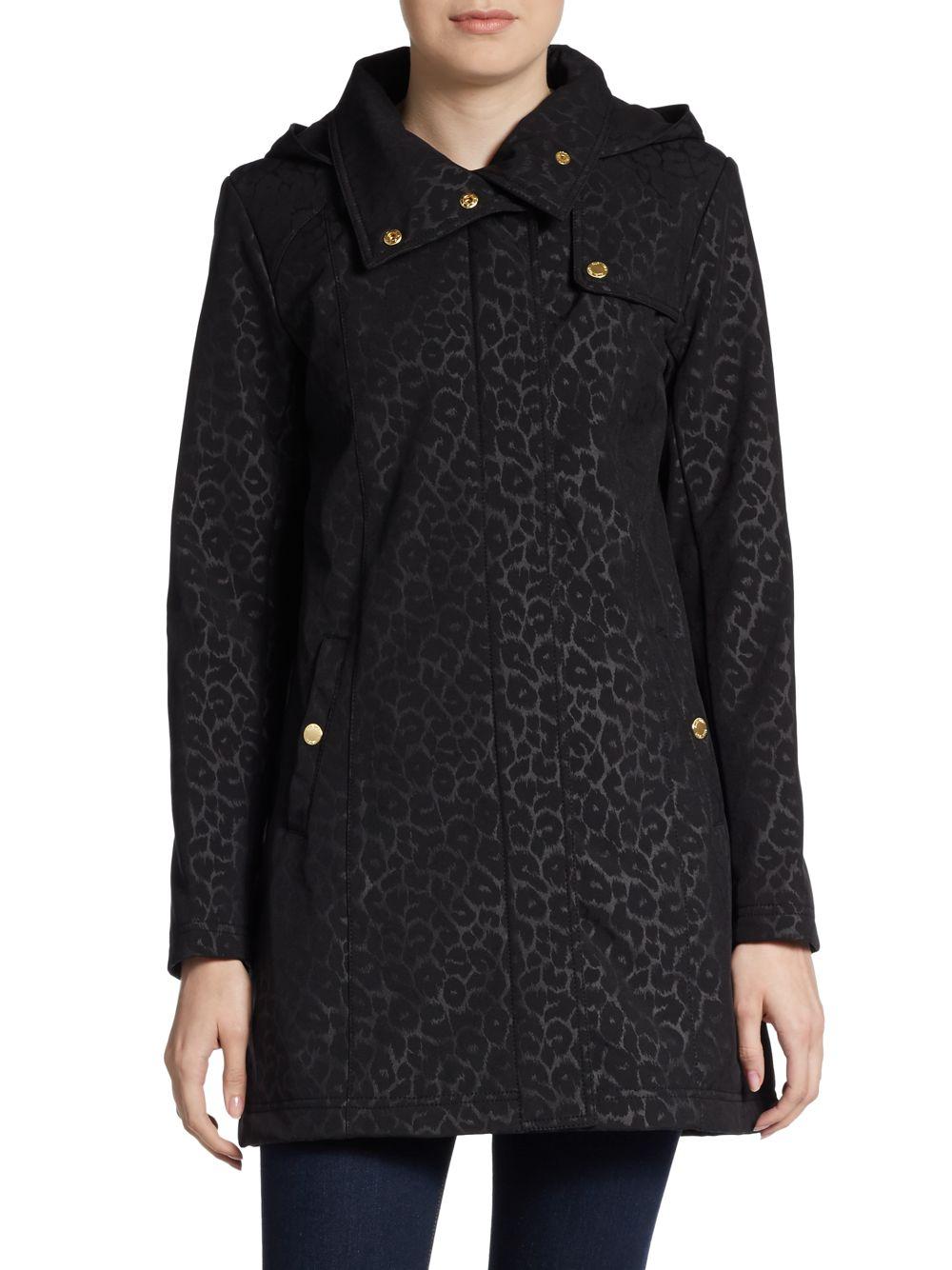 3e3b18b6e6a9 Ellen Tracy Leopard-Print Hooded A-Line Jacket in Black - Lyst