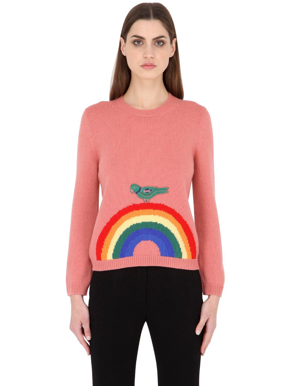 Gucci Rainbow Fine Merino Wool Sweater in Pink