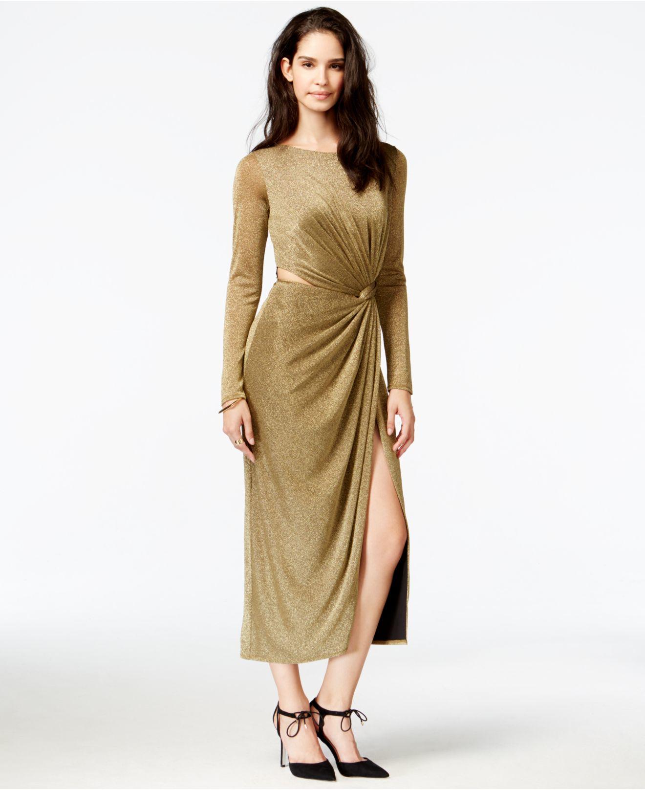 Lyst - RACHEL Rachel Roy Metallic Twist-front Maxi Dress in Metallic 864fc60df