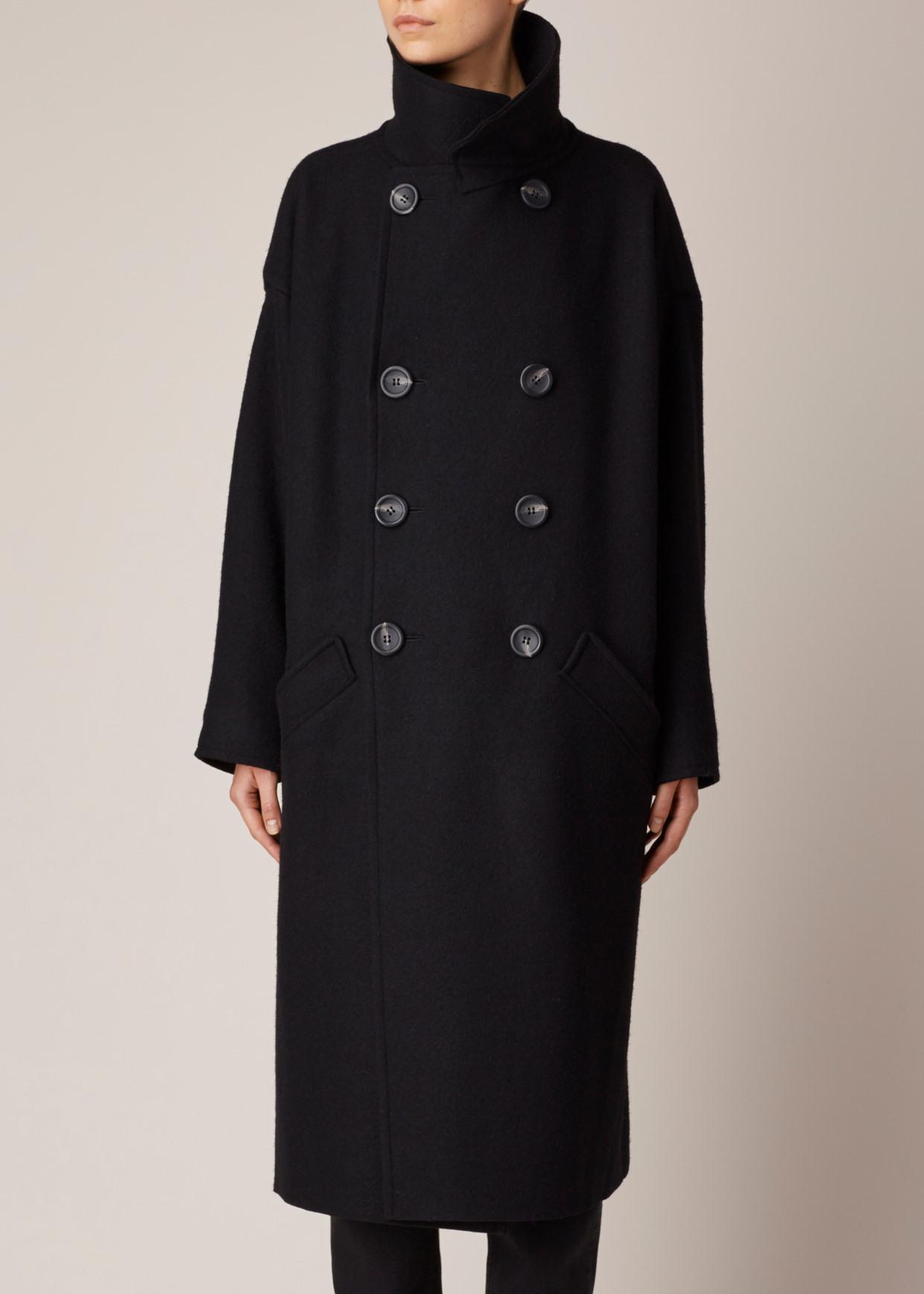 Y's yohji yamamoto Black Big Coat in Black | Lyst