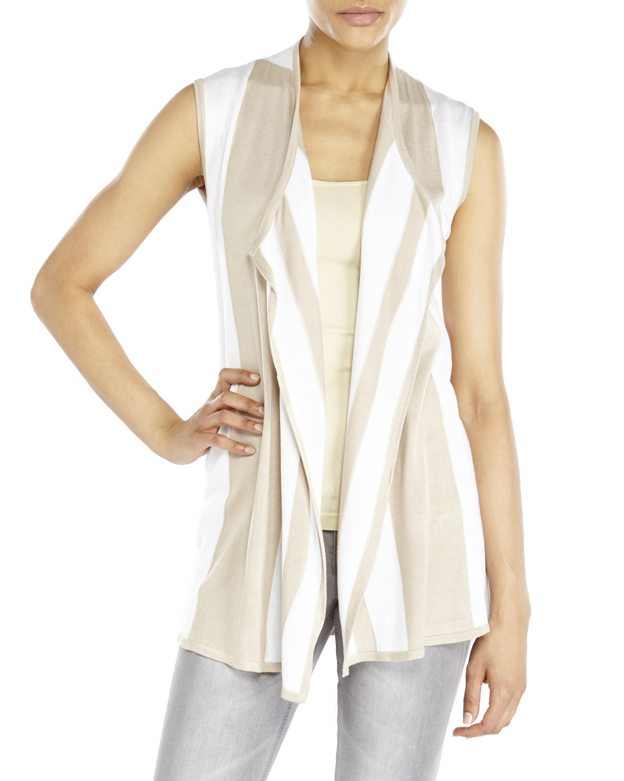 Joseph a . Petite Draped Open Front Sleeveless Cardigan in Natural ...