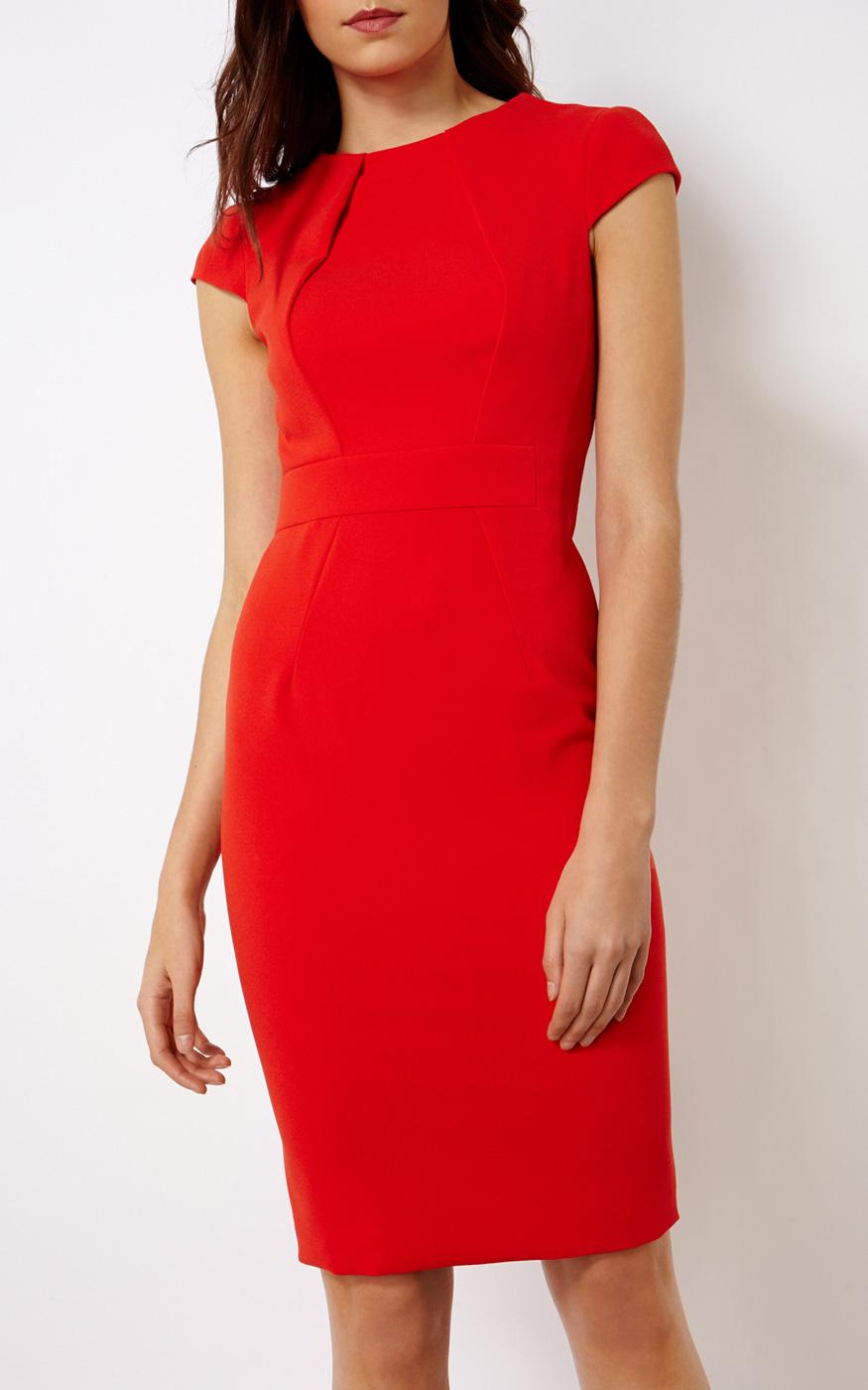 Karen Millen Red Pencil Dress In Red | Lyst