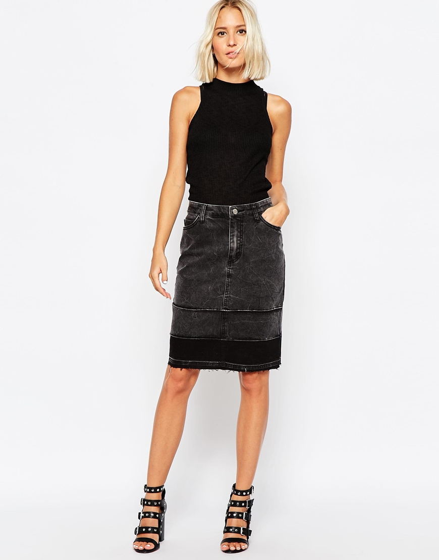 Cheap monday Raw Edge Denim Pencil Skirt in Black | Lyst