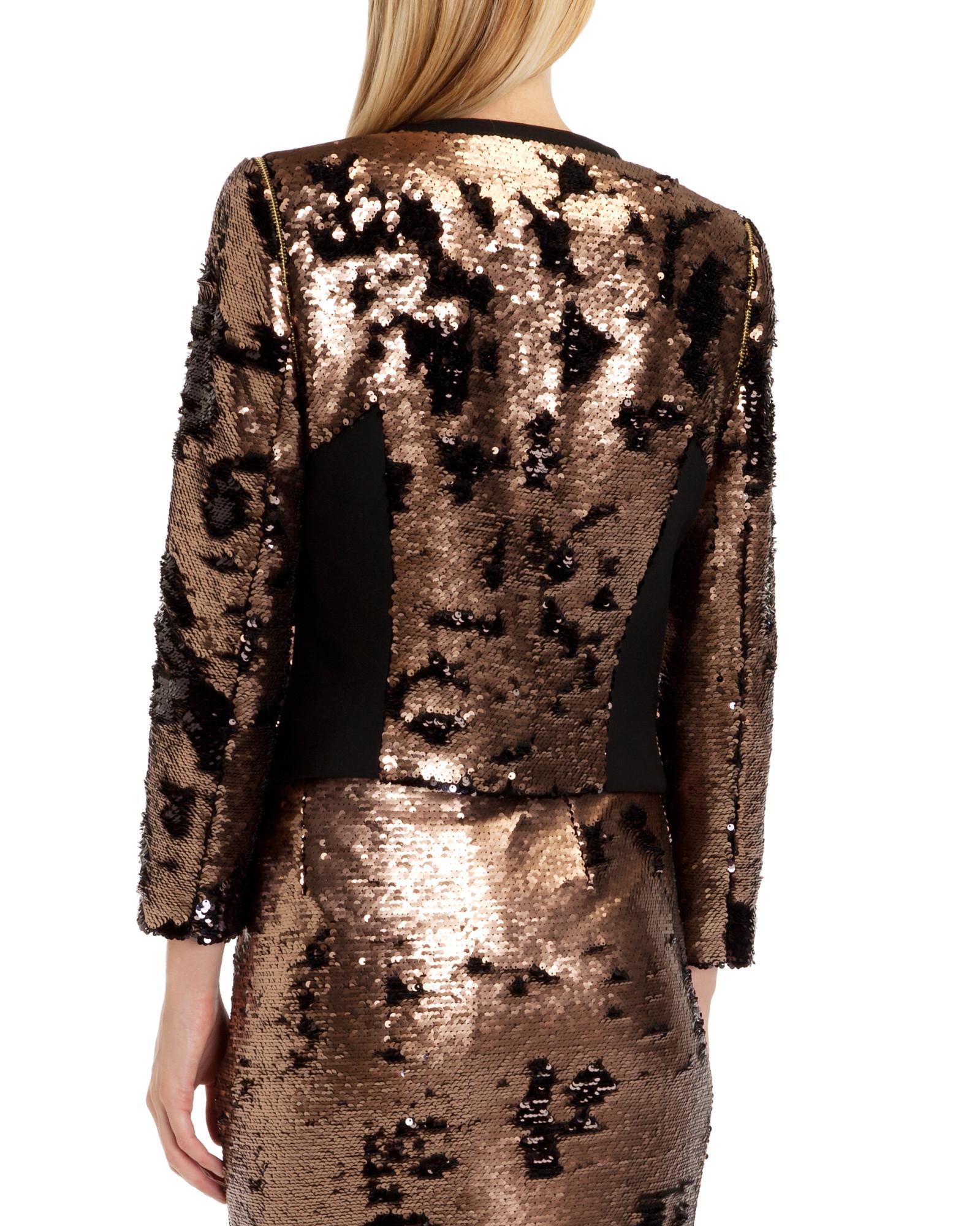 7afa5ac82179bf Ted Baker Blubele Sequin Jacket in Metallic - Lyst