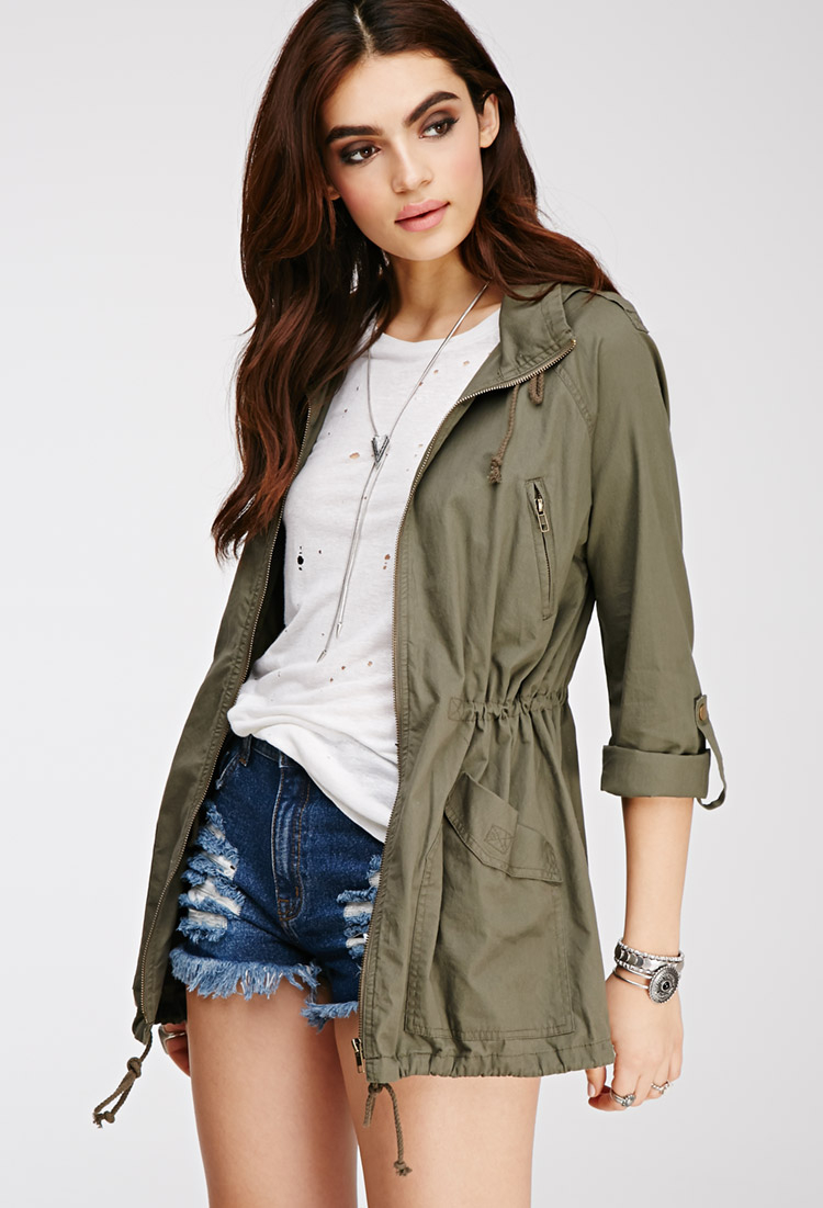 Forever 21 Hooded Drawstring Utility Jacket in Green | Lyst