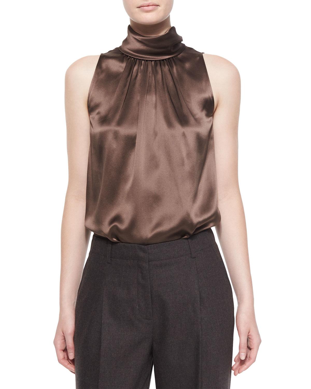 3f07567037d635 Lyst - Lafayette 148 New York Silk Sleeveless Blouse in Brown