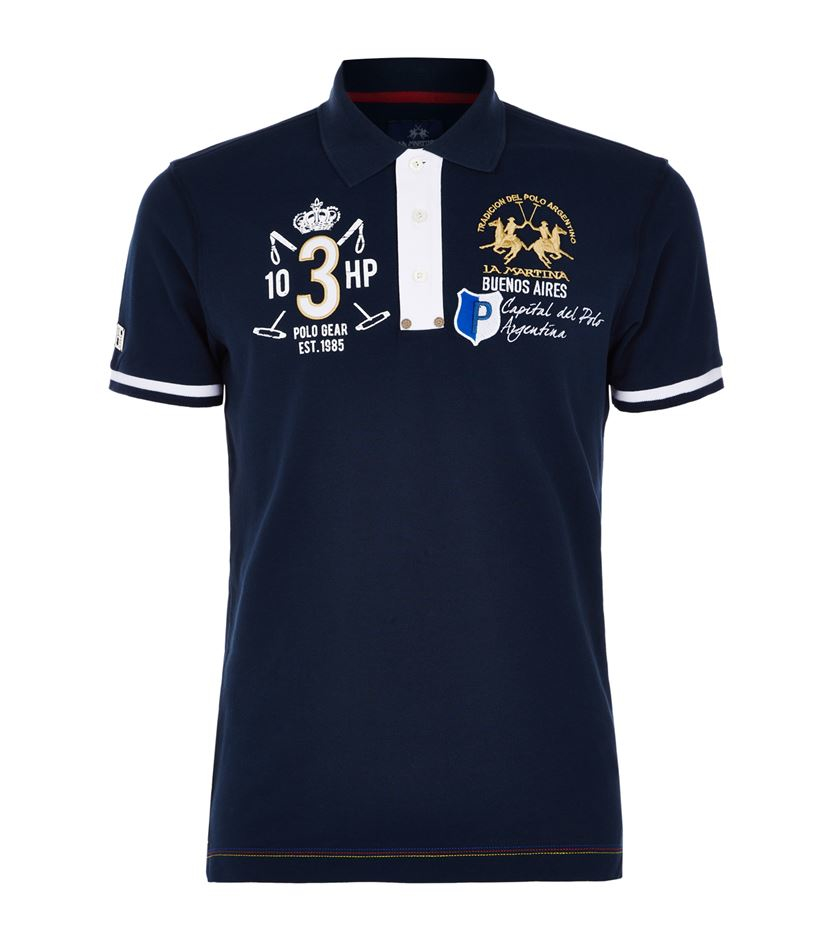 la martina suede trim crest polo shirt in blue for men lyst. Black Bedroom Furniture Sets. Home Design Ideas