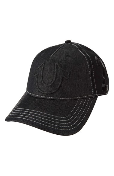 lyst true religion 39 raised horseshoe 39 baseball cap in black for men. Black Bedroom Furniture Sets. Home Design Ideas