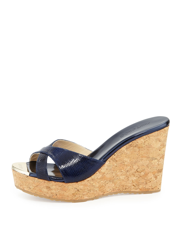 376fd257920a Jimmy Choo Pandora Snakeprint Wedge Slide Sandal in Blue - Lyst