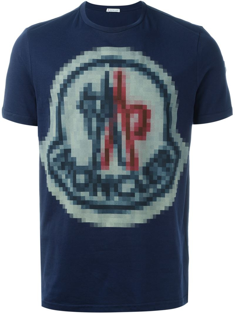 c57082bf6 Moncler Pixel Logo Print T-shirt in Blue for Men - Lyst