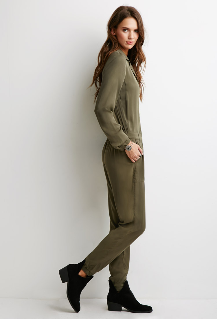 926393db05c8 Forever 21 Utility Jumpsuit in Green - Lyst