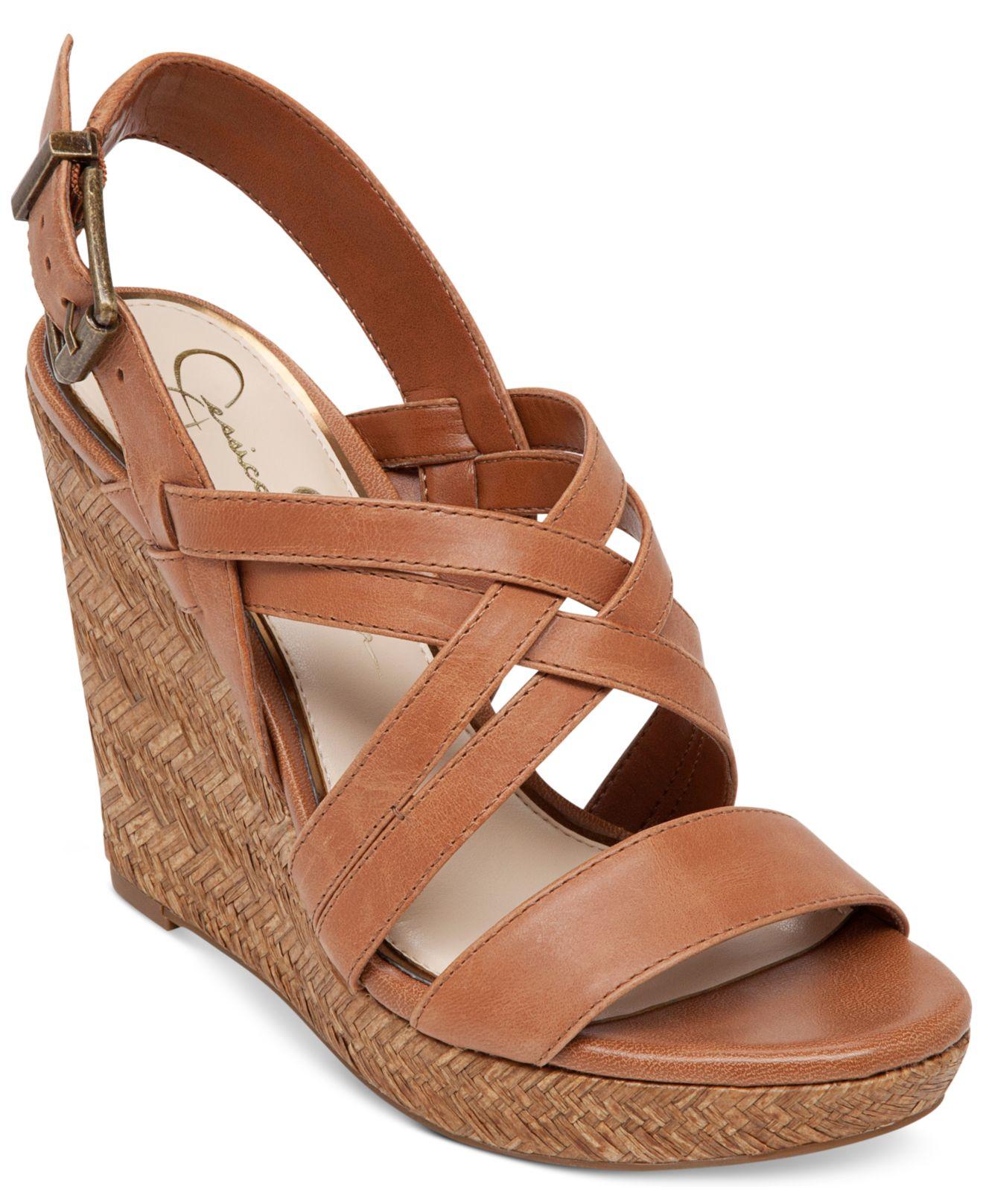Lyst Jessica Simpson Julita Platform Wedge Sandals In Brown