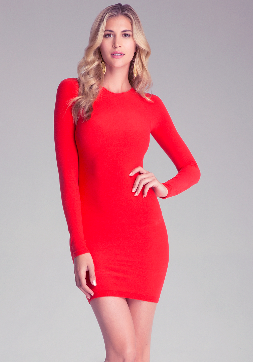 Bebe Raglan Sleeve Bodycon Dress in Red | Lyst