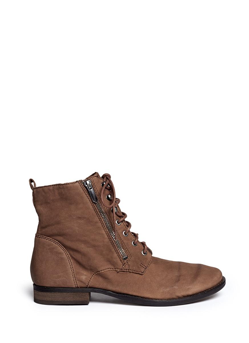 sam edelman mackay nubuck leather boots in brown lyst