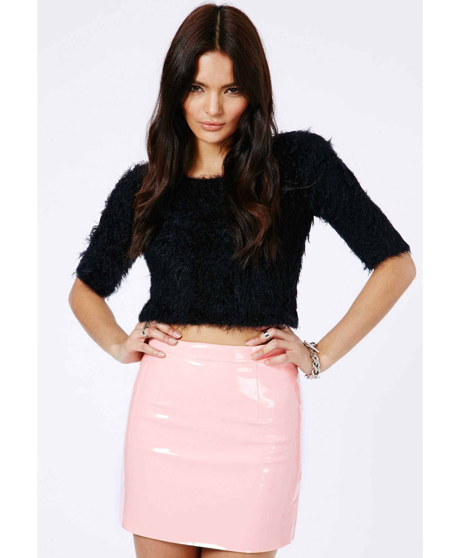 Missguided Nagsia Pvc Mini Skirt In Pink in Pink | Lyst