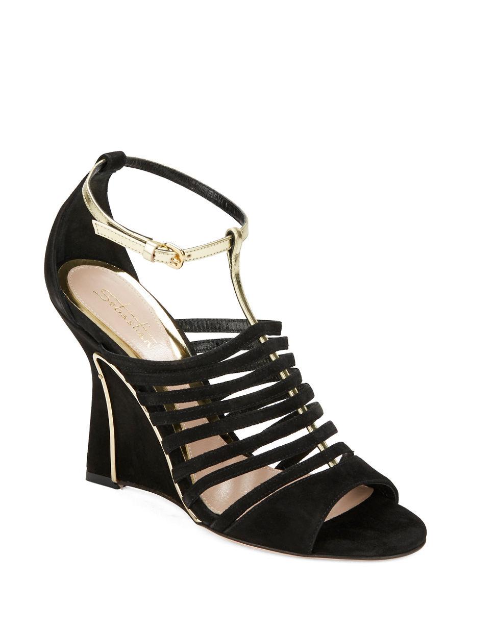 sebastian suede open toe wedge sandals in black lyst