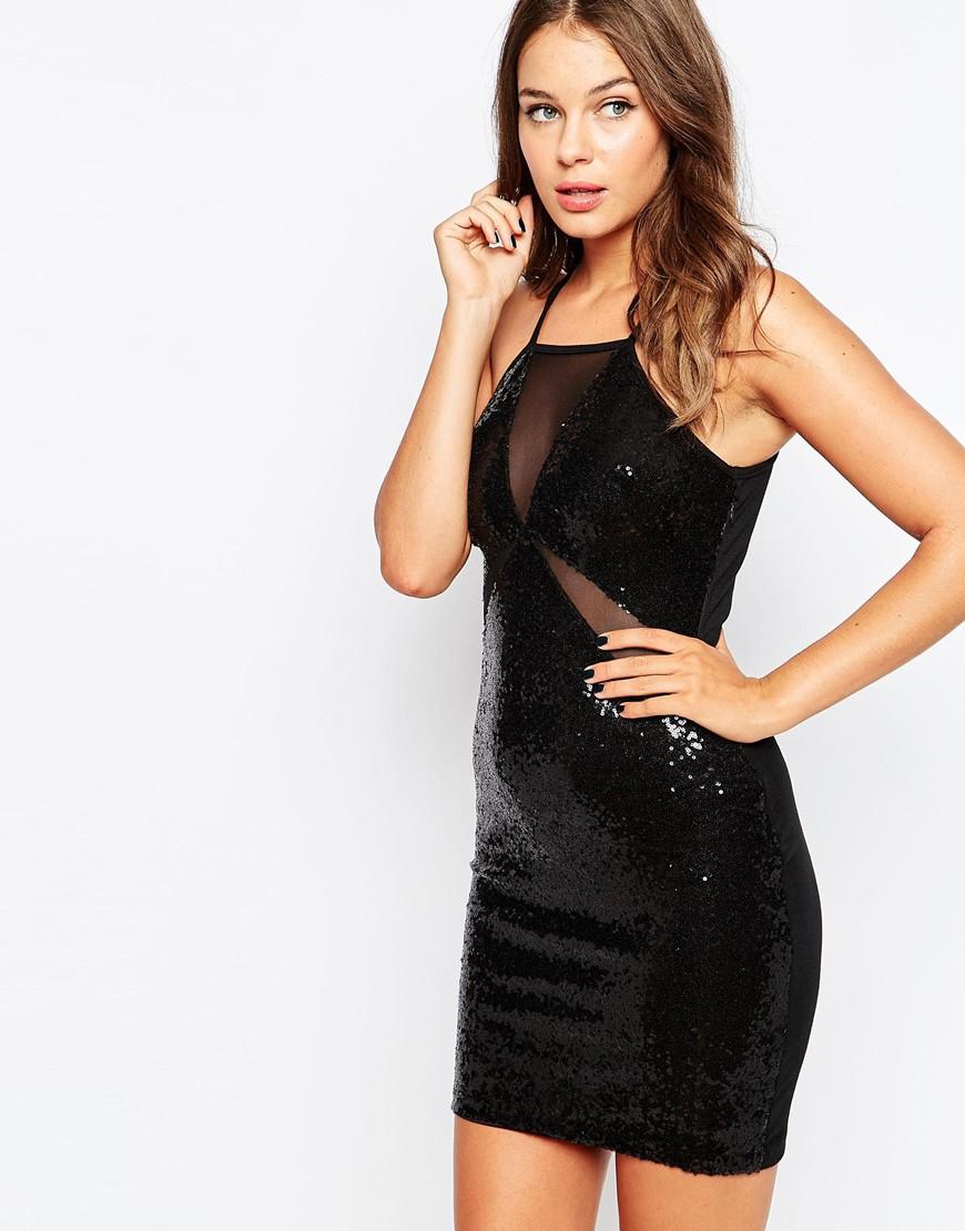 Black Sequin Mini Dress