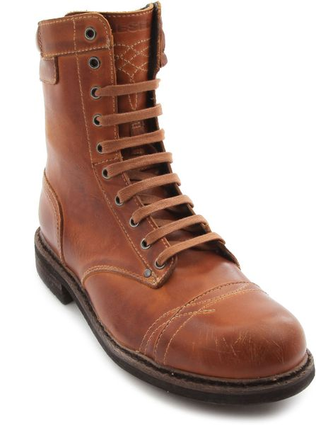 diesel brown leather cassidy boots in brown for lyst