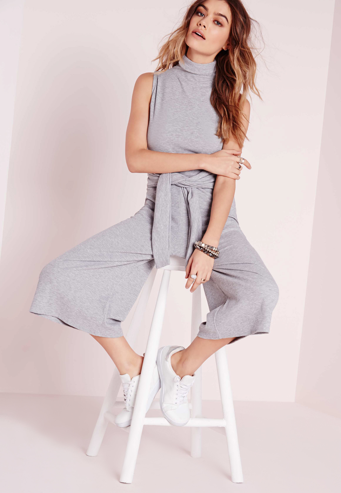 67f8c5e3e521 Missguided Ribbed Culotte Tie Waist Jumpsuit Grey in Gray - Lyst