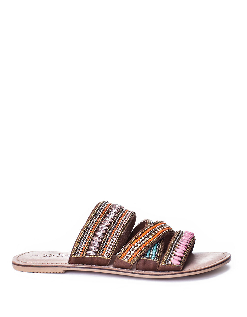 Multi-Colored Beaded Slide Sandals uumTBd
