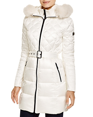 Lyst Bcbgmaxazria Quilted Coat With Fox Trim In White