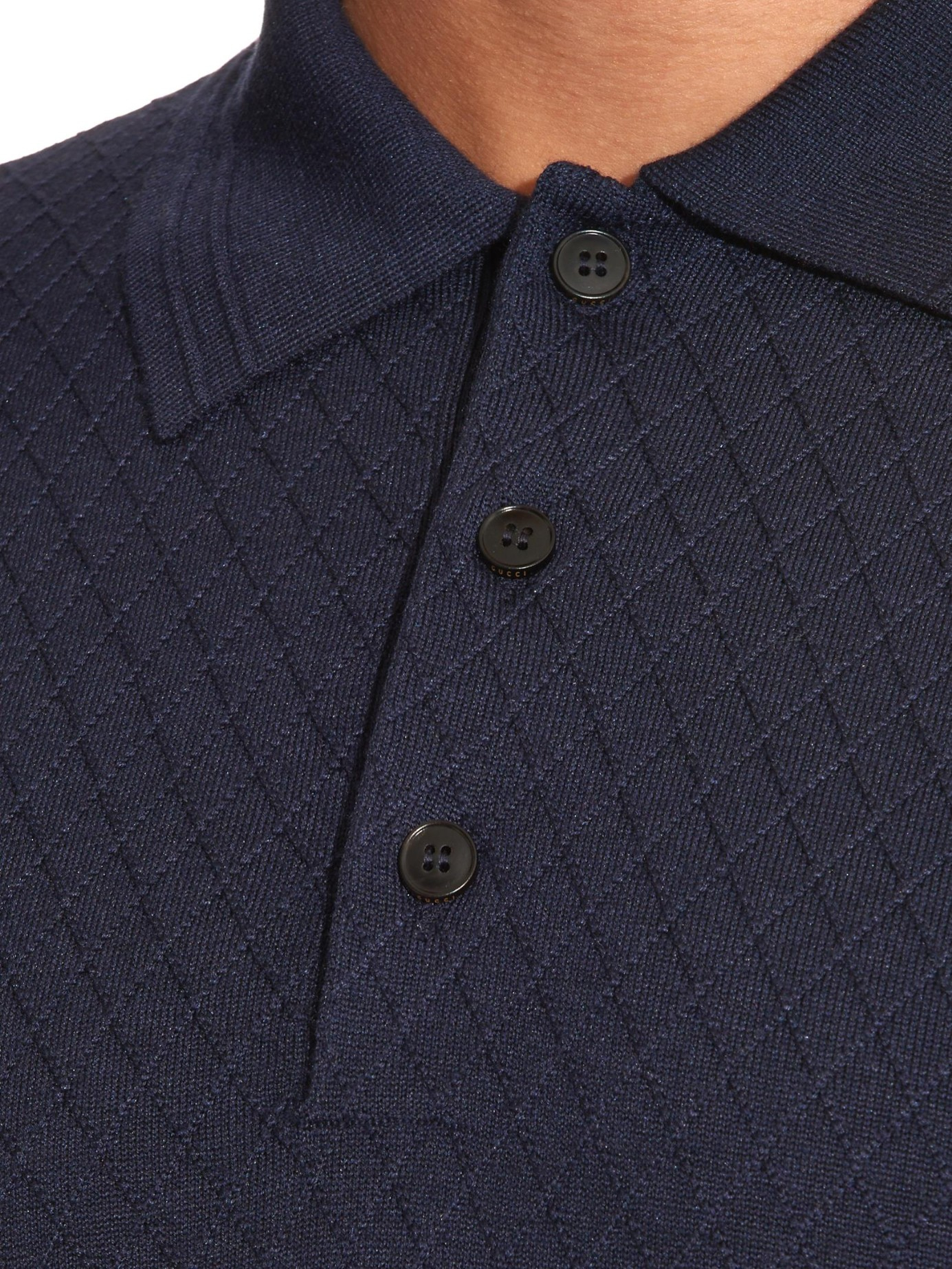 Lyst - Gucci Diamond-stitch Wool-blend Knit Polo Shirt in Blue for Men 3efa3d3d3c99