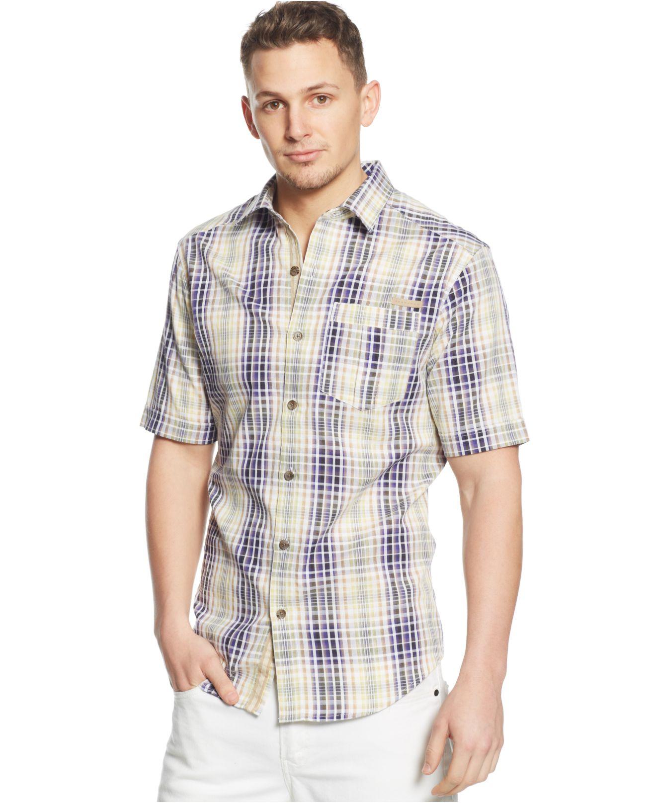 Sean john Big & Tall Checked Dobby Shirt in Blue for Men | Lyst