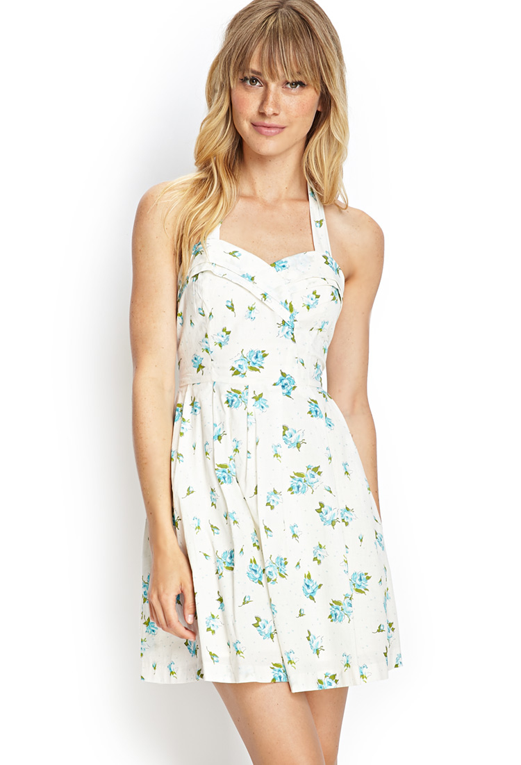 Forever 21 Floral Print Halter Dress in Blue | Lyst