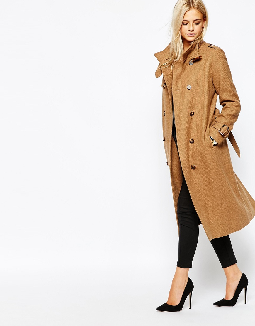 Oasis Military Trench Coat in Natural | Lyst