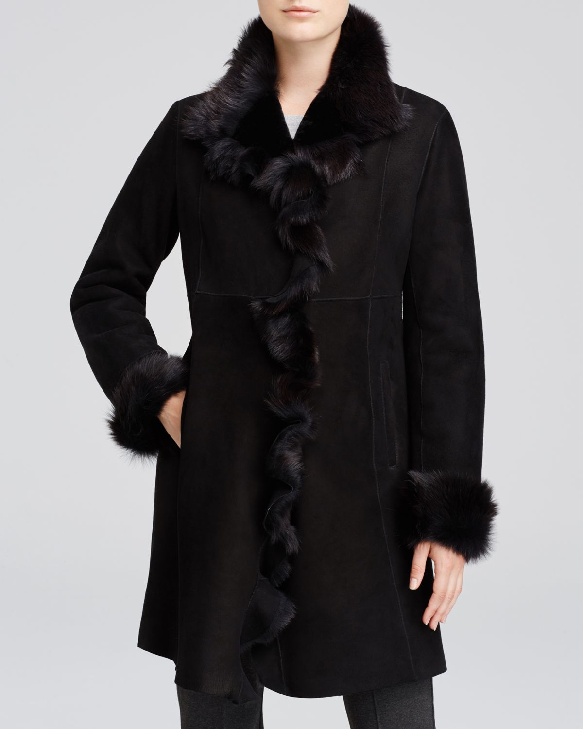 Maximilian Maximilian Lamb Shearling Coat With Ruffled Trim in