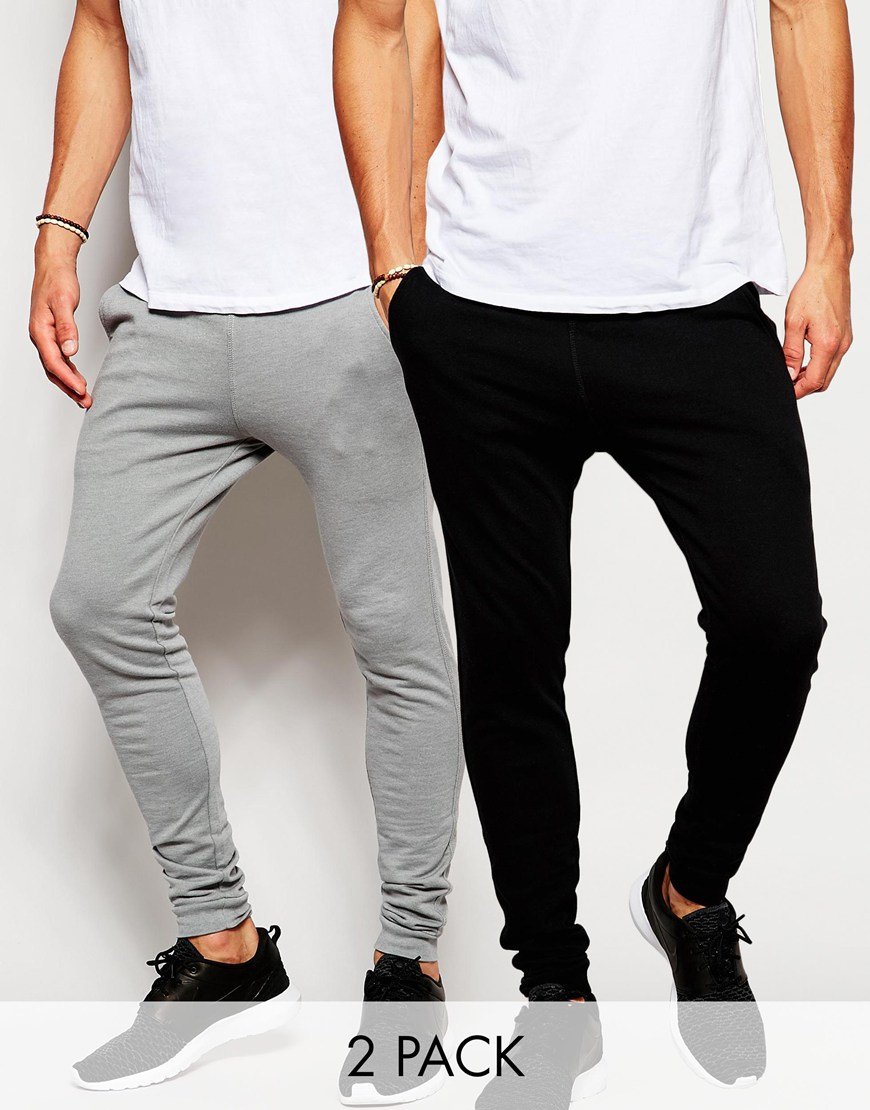 9913f4d8da8fa5 ASOS 2 Pack Super Skinny Joggers - Black/ Elephant Grey in Black for ...
