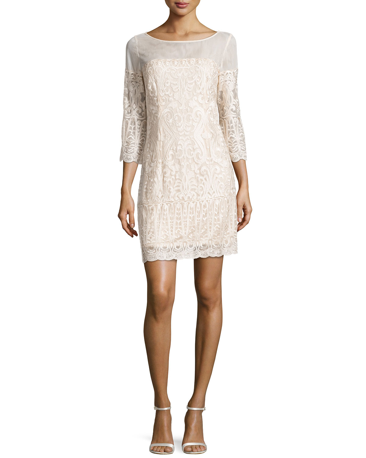 Laundry by shelli segal mesh embroidered sheath dress in for Neiman marcus dresses for wedding guest