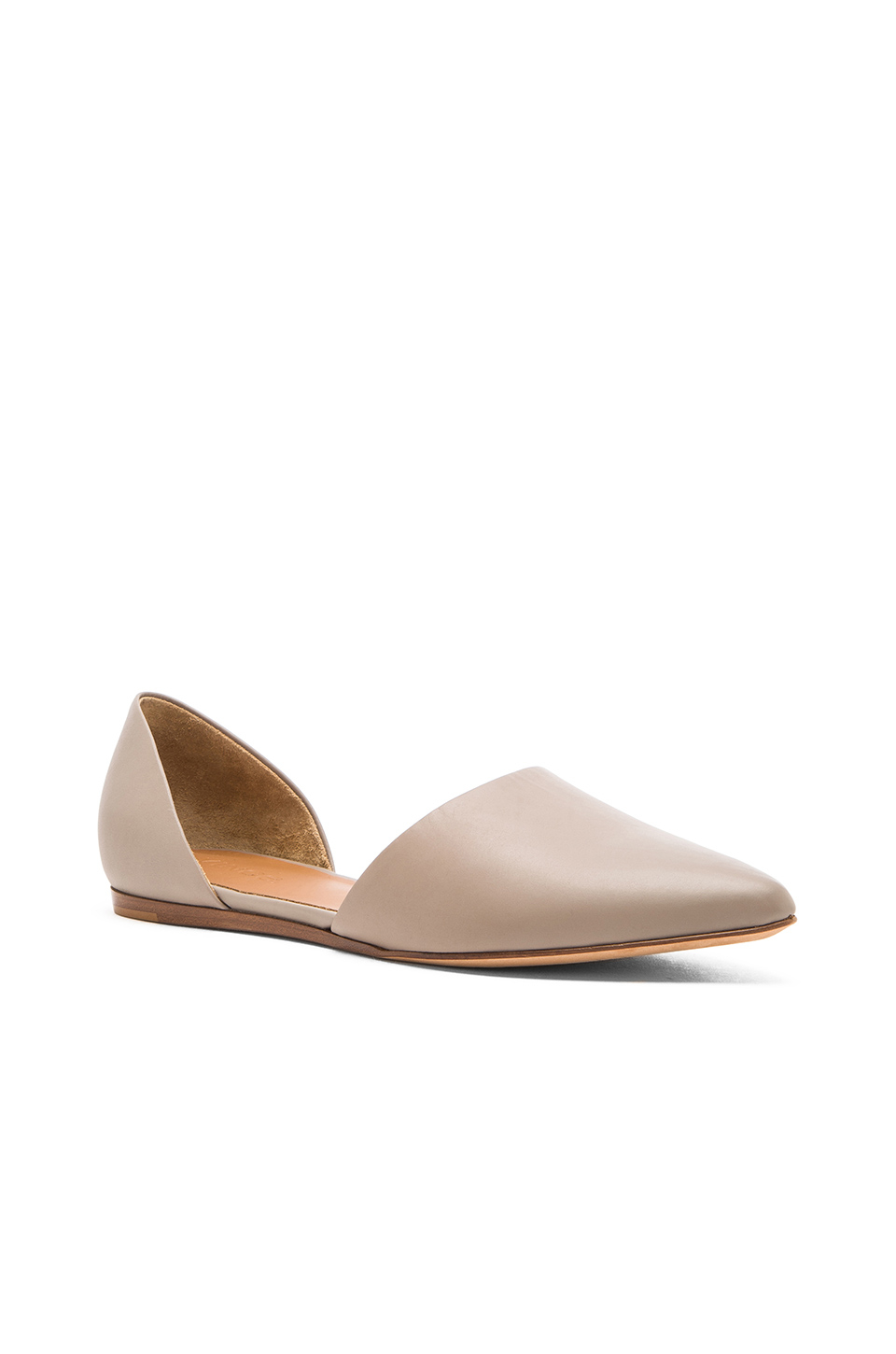Lyst Vince Nina Leather Flat In Natural