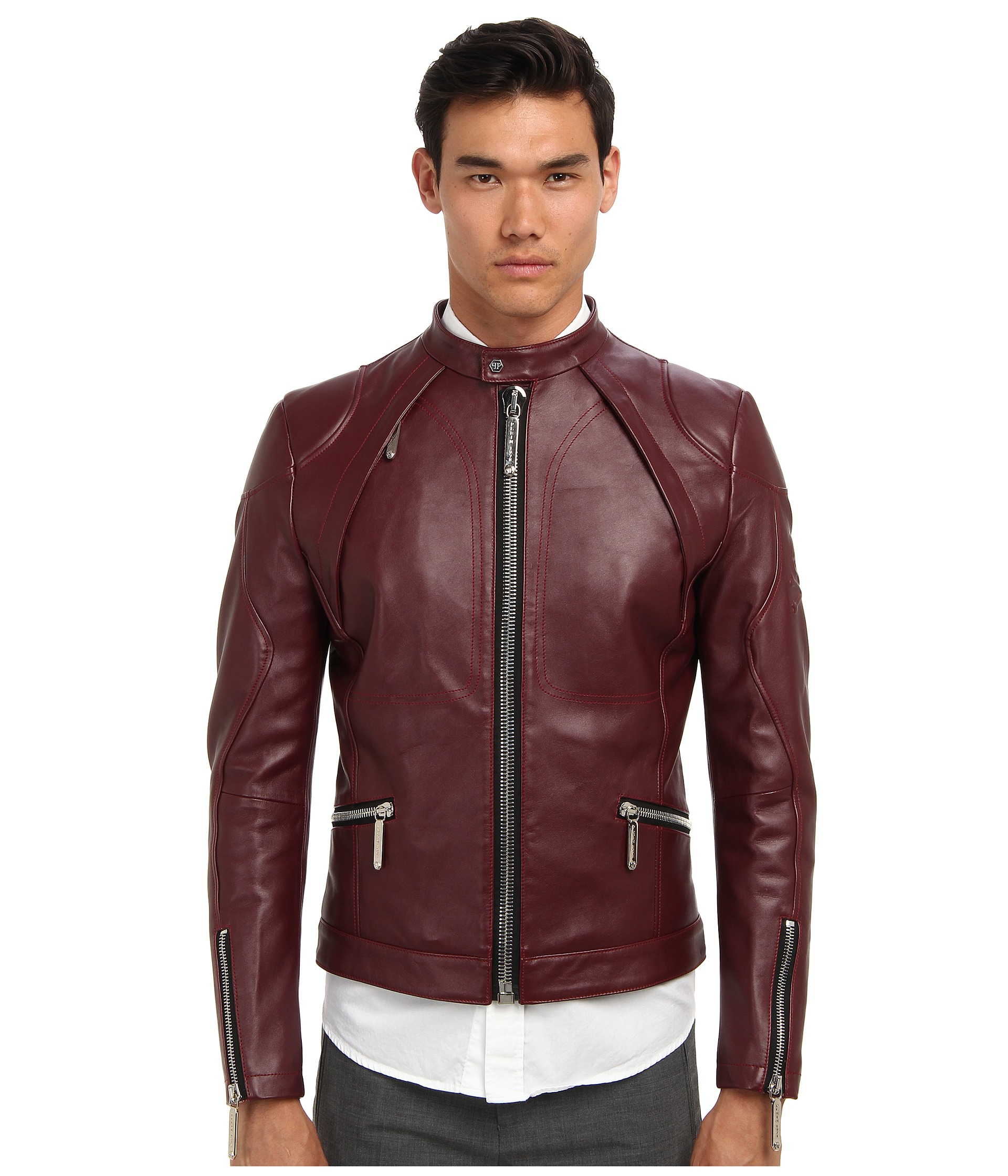 philipp plein force leather jacket in red for men lyst. Black Bedroom Furniture Sets. Home Design Ideas