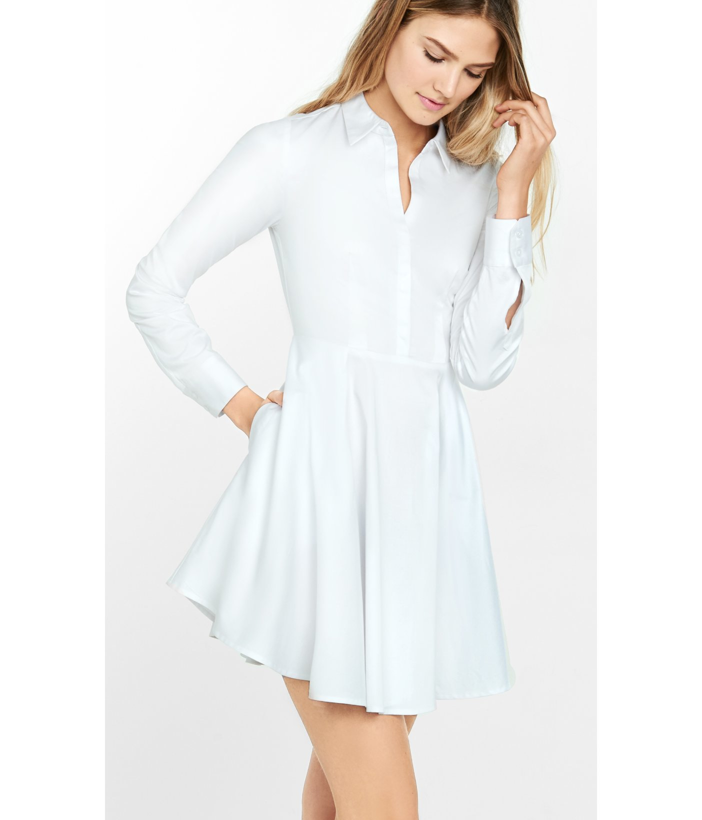 Lyst Express Stretch Cotton Fit And Flare Shirt Dress In White
