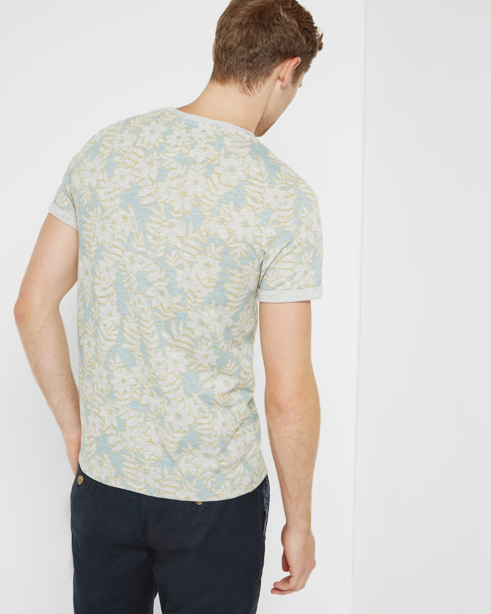Ted baker floral cotton t shirt in green for men lyst for Ted baker floral print shirt