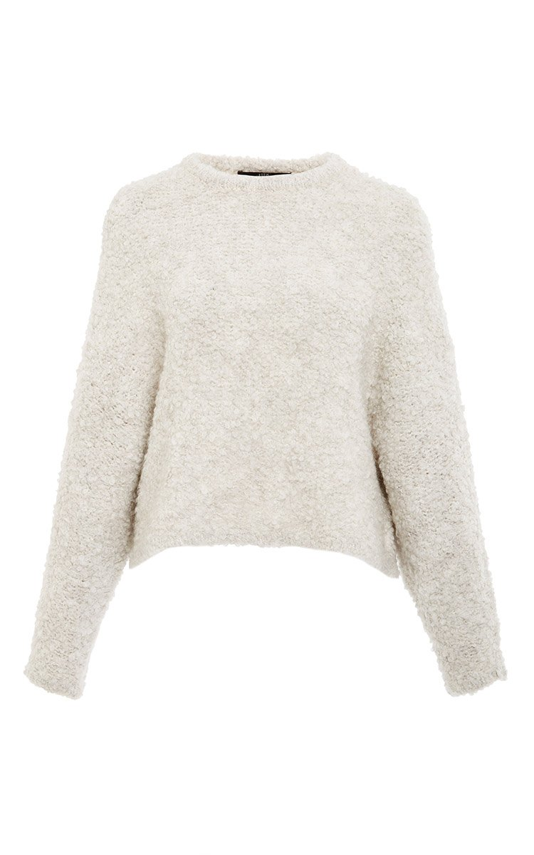 Tibi Oatmeal Cropped Cozy Boucle Sweater in White | Lyst