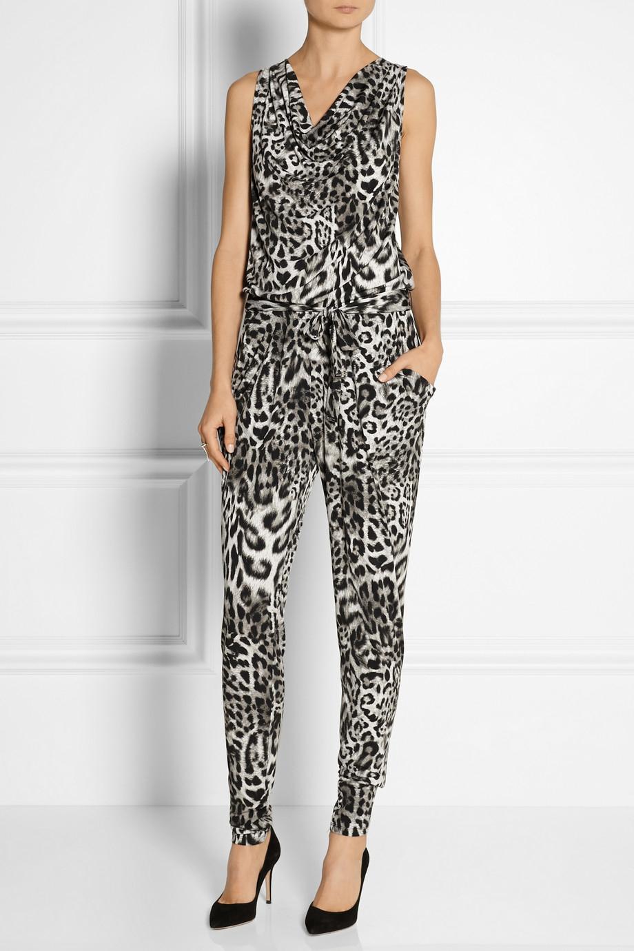 877486fc2c4 MICHAEL Michael Kors Leopard-Print Stretch-Jersey Jumpsuit in Gray ...