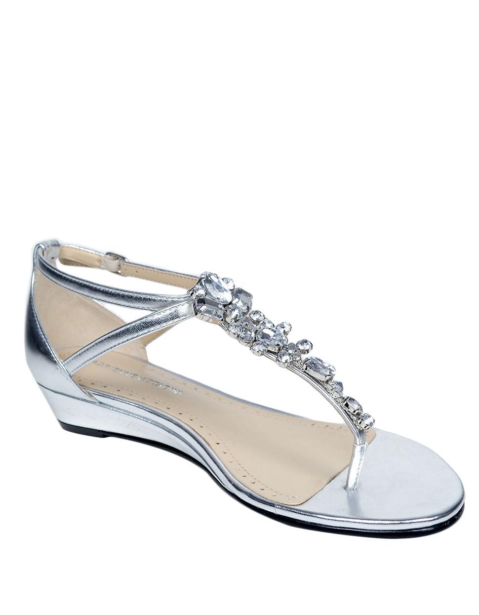 Lyst Adrienne Vittadini Veaber Leather Rhinestone T Strap Wedge Sandals In Metallic