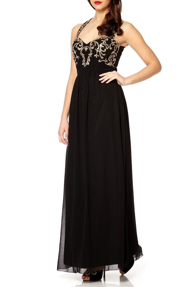 Quiz Black And Gold Maxi Dress In Black Lyst