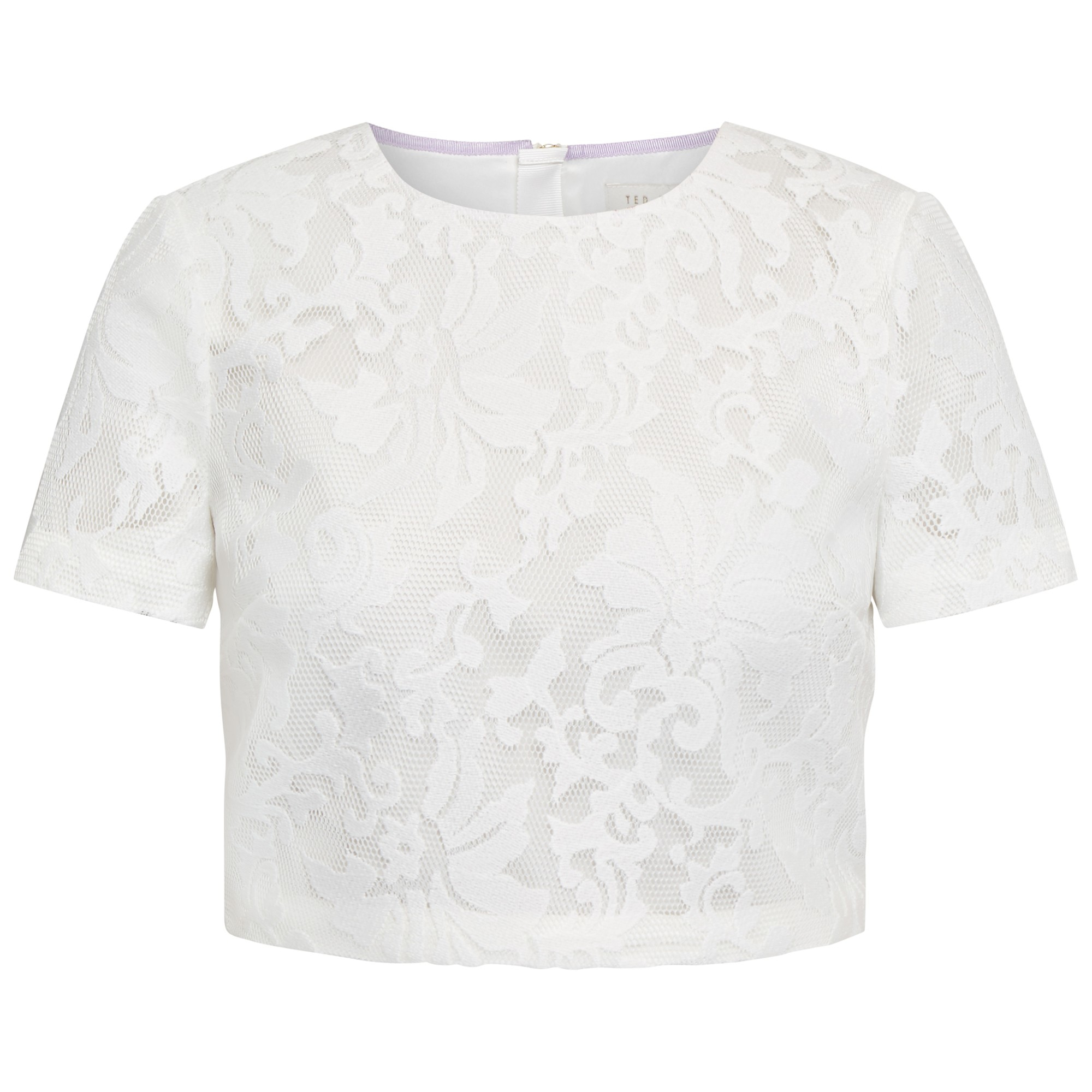 06cfb190042d54 Ted Baker Maire Lace Mesh Crop Top in White - Lyst