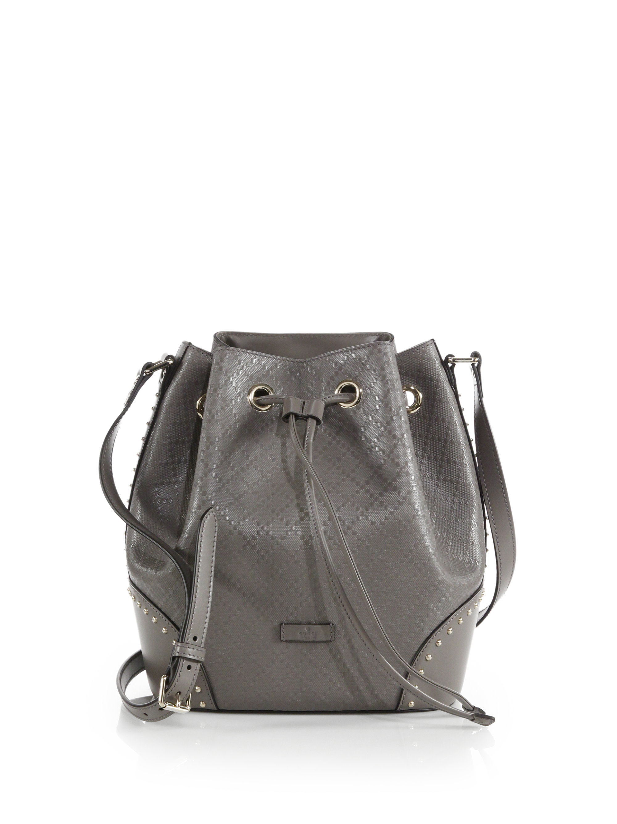 73c774bee19ff0 Gucci Bright Diamante Leather Bucket Bag in Natural - Lyst
