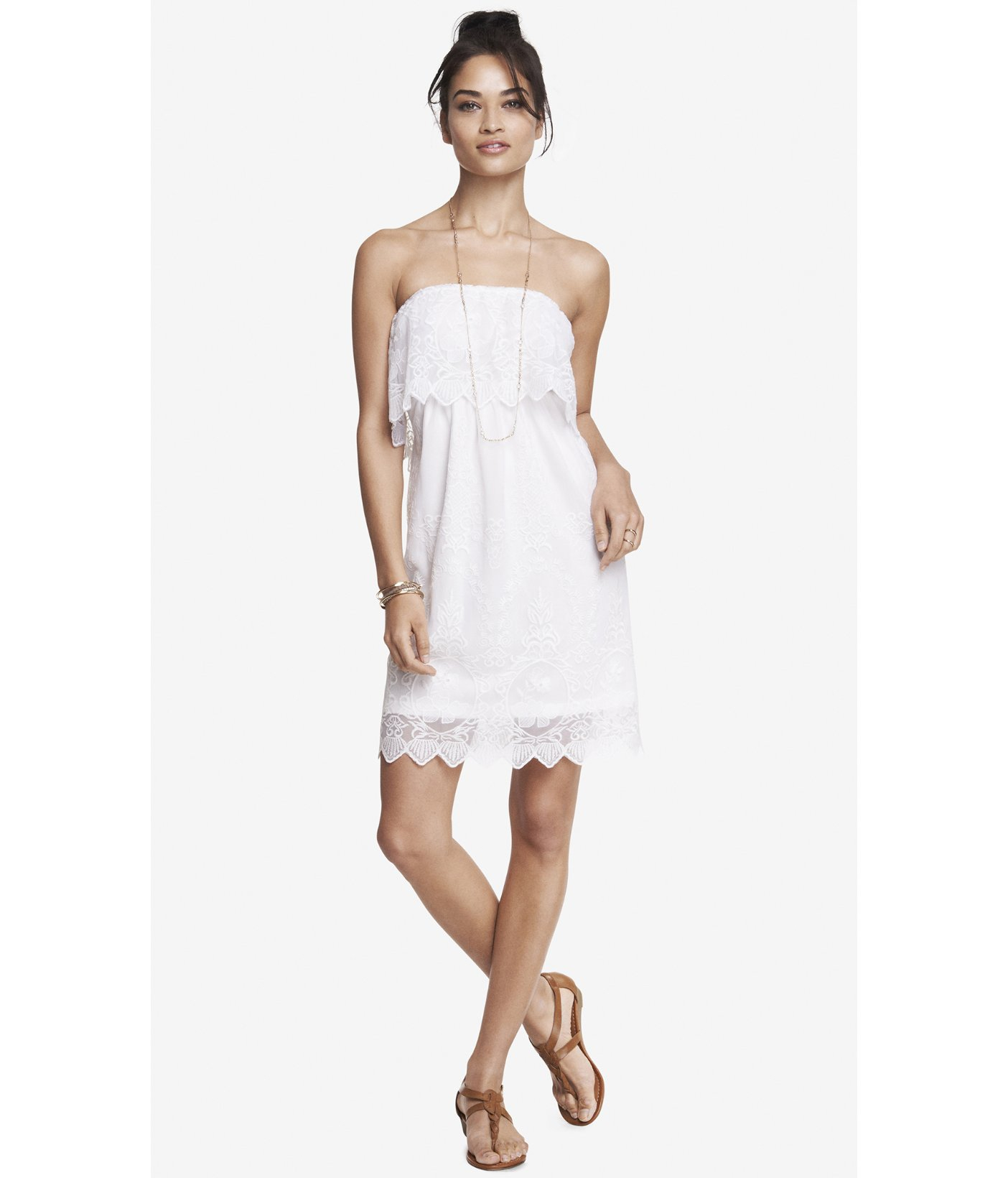 Express Baroque Lace Tube Dress in White  Lyst