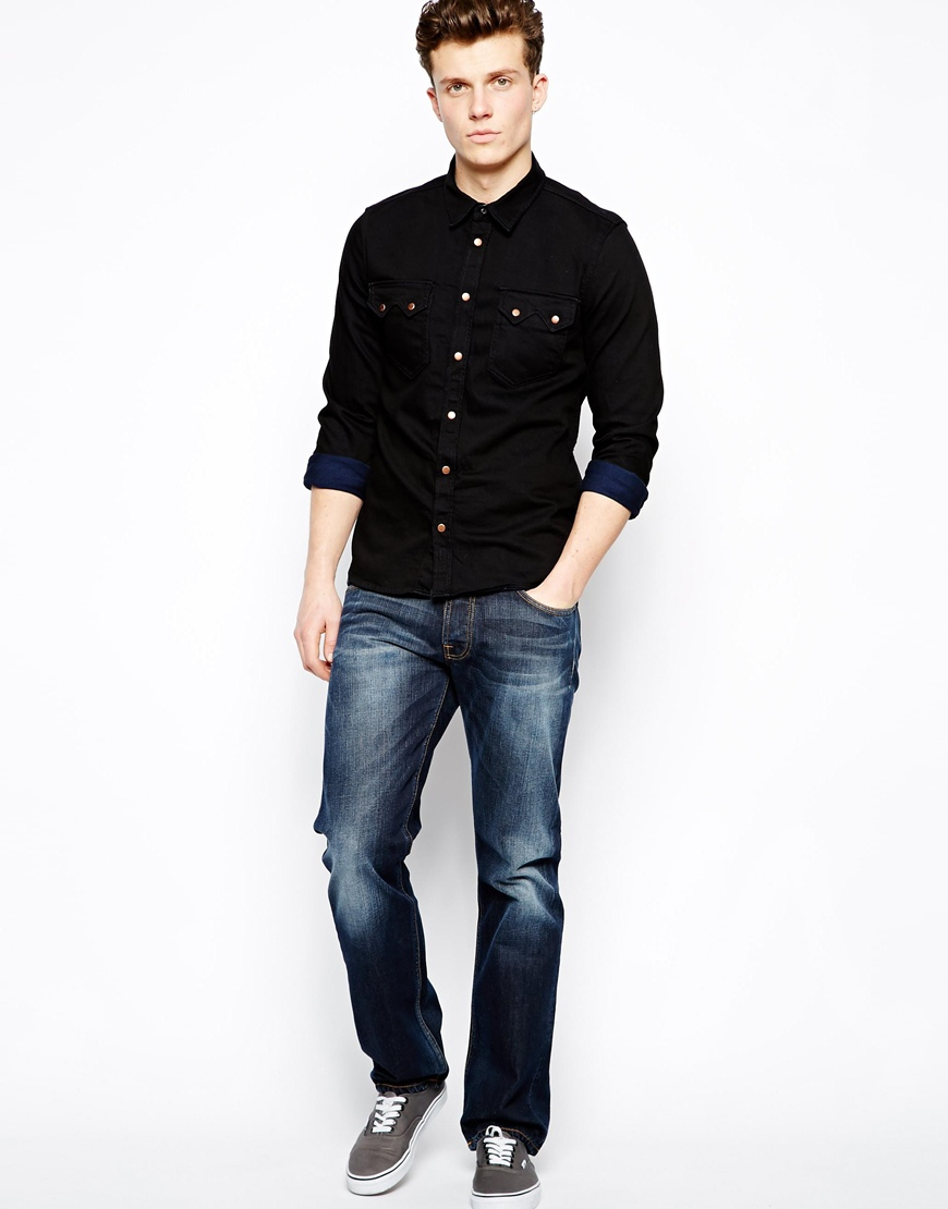 Nudie jeans nudie denim shirt gusten black on blue in Black shirt blue jeans