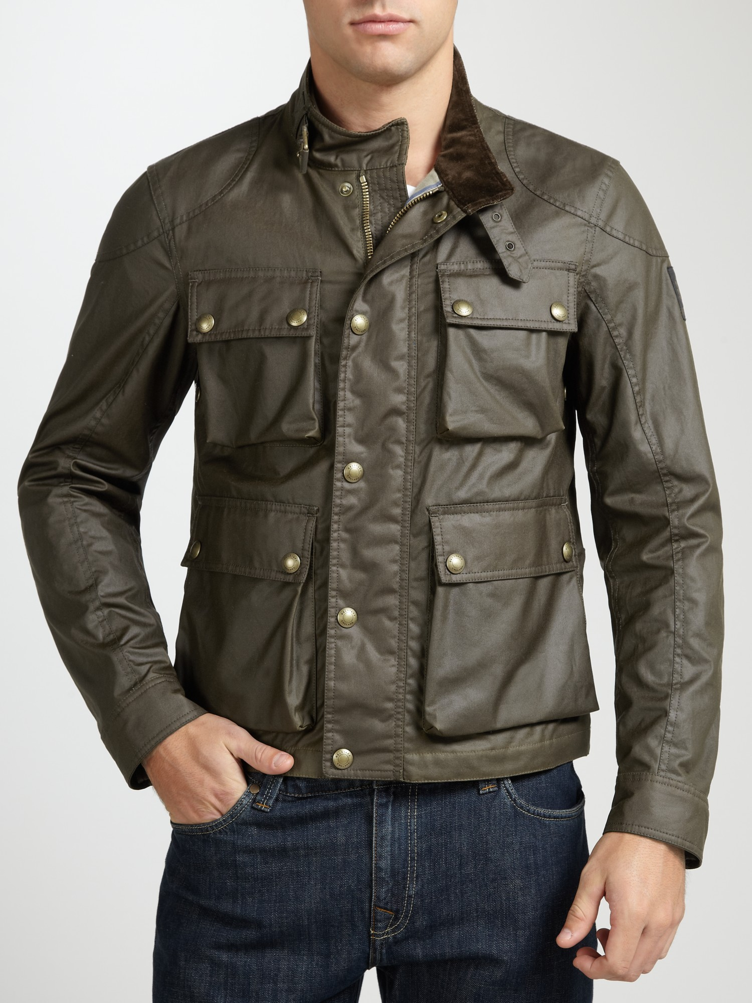 Belstaff Burgess Waxed Cotton Jacket In Green For Men Lyst