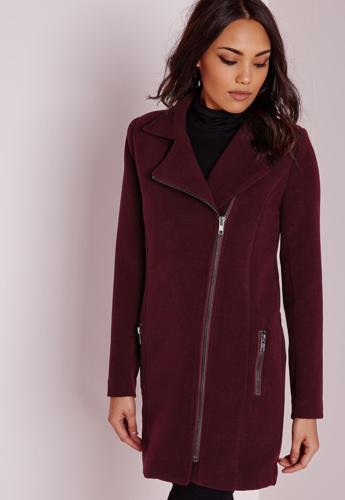 Lyst Missguided Faux Wool Biker Coat Burgundy In Purple