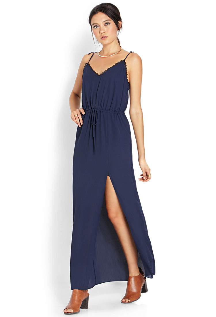 Forever 21 Lace-trimmed Maxi Slip Dress in Blue  Lyst
