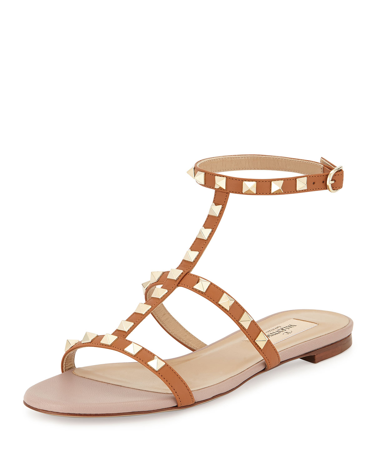 5eef9c827d81 Lyst - Valentino Rockstud Ankle-strap Flat Sandal in Natural